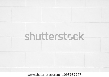 Cement block Wall White Color Painted, Texture, Background