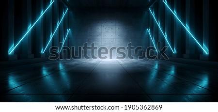 Cement Concrete Sci Fi Futuristic Cyber Neon Electric Laser Lights Glowing Blue Tunnel Corridor Hallway Pillars Dark Background Spaceship Underground 3D Rendering Illustration