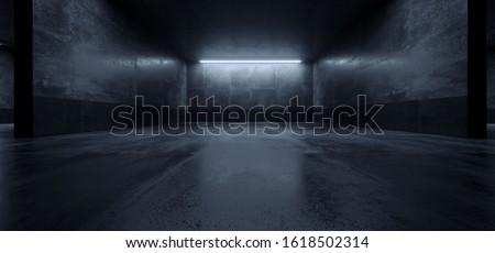 Cement Dark Grunge Parking Underground Car Warehouse Garage Studio Rough Modern Reflective Spaceship Tunnel Corridor Showcase 3D Rendering Illustration