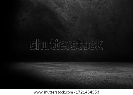 Cement floor and black wall backgrounds, empty room, interior, use for display products.