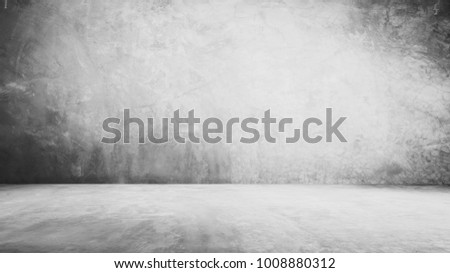 cement floor and wall backgrounds, dark room, interior.