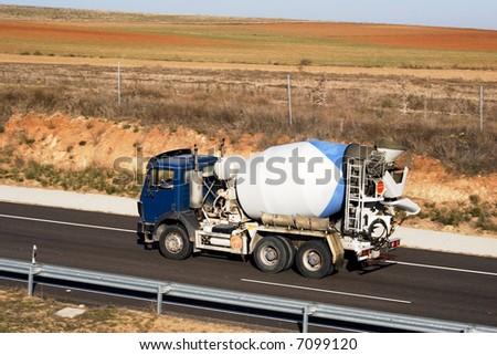 Cement mixer on highway