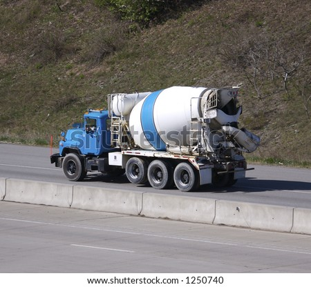 Cement Mixer Truck on the Highway