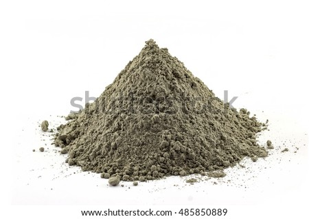 Cement pile, Cement or mortar cray isolated on white background.
