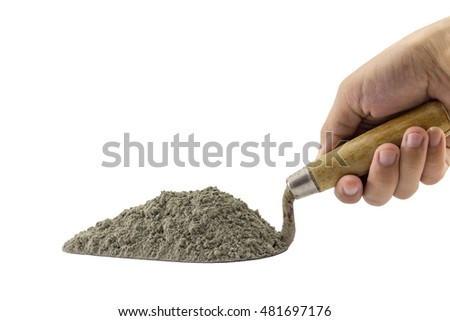 Cement pile on the trowel, Cement or mortar on the trowel in a hand isolated on white background.