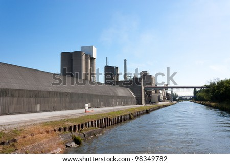 Cement Plant, Concrete or cement factory, view from the river