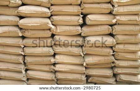 Cement Sacks -- neatly stacked for a construction project