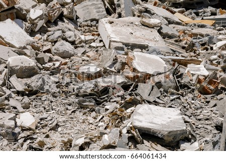 Cement scraps From the destruction of old buildings. #664061434