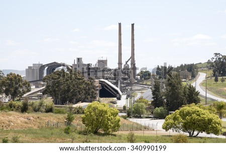 CEMENT WORKS AT RIEBEEK WEST NORTH OF CAPE TOWN SOUTH AFRICA - OCTOBER 2015 -Cement manufacturing plant set in countryside near Riebeek West South Africa