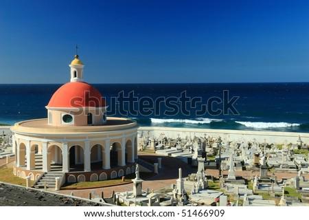 Cementerio de Santa Maria Magdalena de Pazzis on the Atlantic Ocean in Old San Juan, Puerto Rico - stock photo