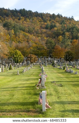Cemetary in upper New York state during the fall