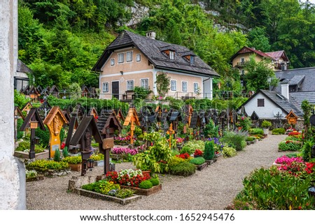 Cemetery and tombs in the village of Hallstatt, one of the Unesco world heritage sites in Austria