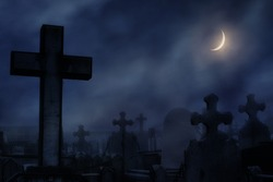 cemetery at night with moonlight