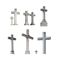 Cemetery catholic elaborate tombstone crosses isolated on white.
