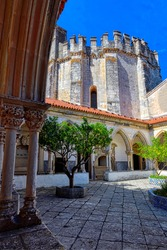 Cemetery cloister and rounded Templar Church, Castle and Convent of the Order of Christ, Tomar, Santarem district, Portugal