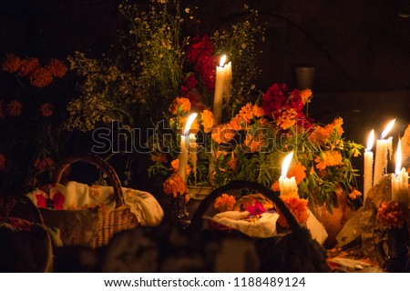 Cemetery decoration in a day of the dead mexican tradition, Janitzio
