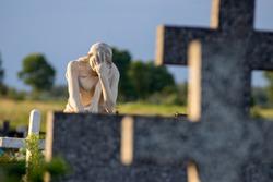cemetery, despairing woman statue, crosses, resting place, graveyard, sculpture