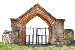Cemetery gate made of red bricks isolated on white background