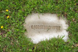 Cemetery grave marker for unknown person