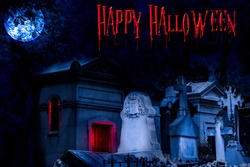 Cemetery Happy Halloween background with graves