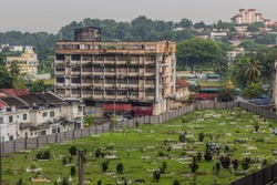 Cemetery in the Brickfields neigborhood of Kuala Lumpur, Malaysia.