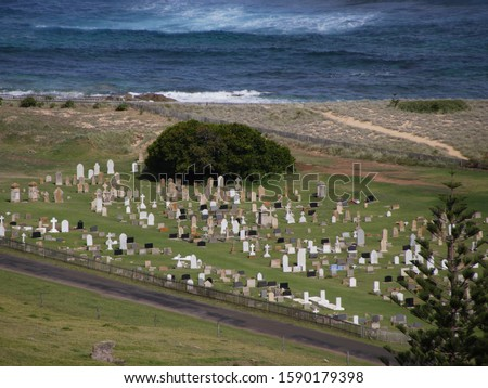 Cemetery near coast, Cemetery Bay, Norfolk Island, External Territory of Australia