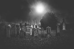 Cemetery night for halloween