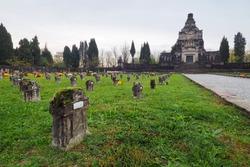 Cemetery of Crespi d'Adda, historic worker village. Bergamo, Lombardy, Italy