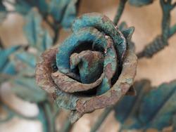 Cemetery, ornament. Metal flower. Rose.