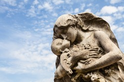 Cemetery statue in Italy, made of stone - more than 100 years old