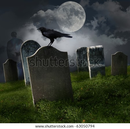 Cemetery with old gravestones moon and black raven