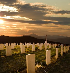 cemetery World War II at sunset