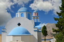 Cemetry Chapel of Emborios (Imborios) on the greek Island of Chalki (Halki), 9 km North of Rhodes