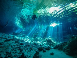 Cenote diving in Cancun, Mexico