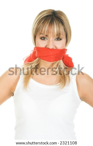 Censored and freedom of speech concept. Mouth tied and covered silence