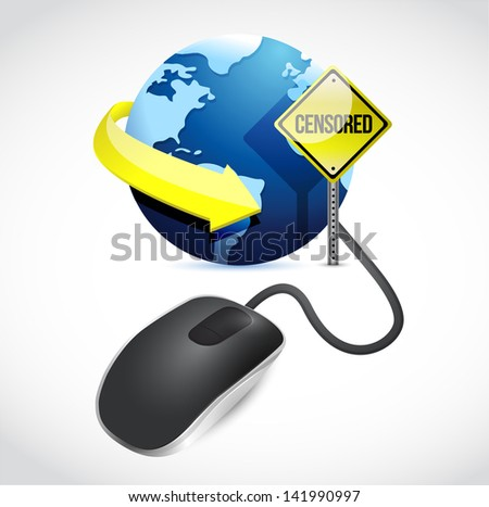 censored connection concept sign and mouse illustration design over white