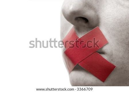 Censored Woman with red tape on mouth. Colorkey, Face toned. Isolated on white.