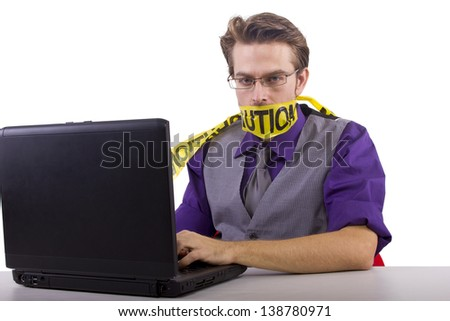 Censorship concept.  Censoring online opinions.  Isolated on a white background.