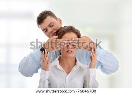 Censorship concept. Two business people. - stock photo