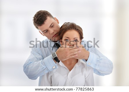 Censorship concept. Two business people