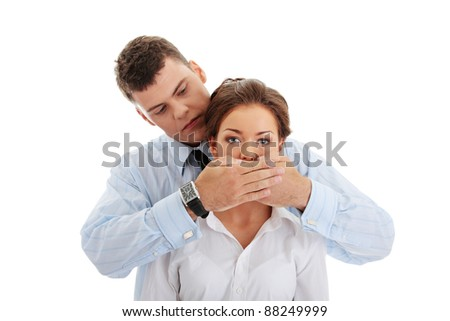 Censorship concept. Two business people isolated on white background