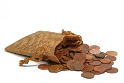 Cent coins, euros, change, in a jute bag