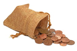 Cent coins, euros, loose change in a jute bag