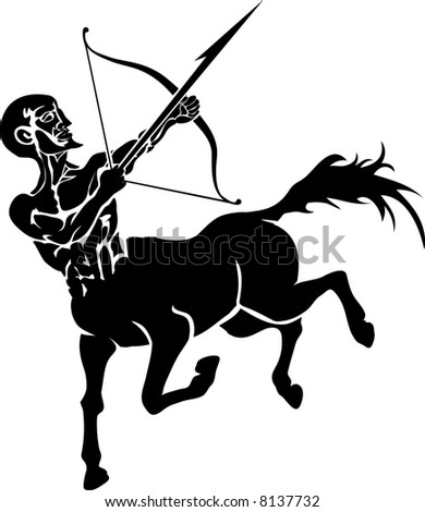 Centaur. Monochrome  illustration of a stylised Centaur with a bow and arrow
