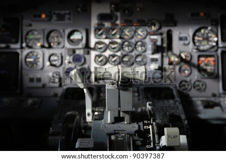 Center console and throttles in the airplane. - stock photo