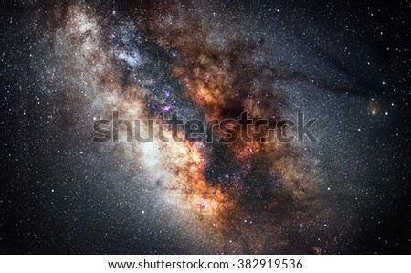 Center of Milky Way - The real colors of milky way galaxy, astronomic picture. A slight noise is normal for this type of photos.