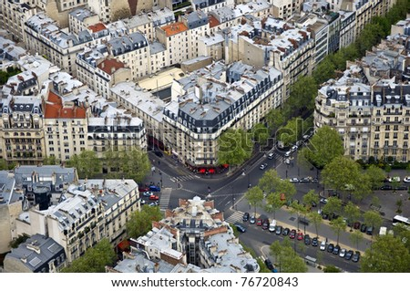 Center of Paris from the top. Roofs and streets. Panorama City