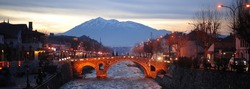 Center of Prizren, Kosovo at dusk (winter)
