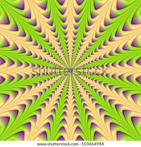 Center Point/Digital abstract image with a center pointing radial design in green yellow and purple.