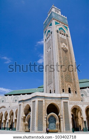 Center tower in King Hassan Mosque, the third largest mosque in the world